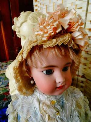 A Beautiful Antique French Dolls Lace ~ Ribbon Bonnet