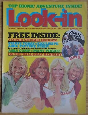 LOOK-IN MAGAZINE W/E 22 OCTOBER 1977 - ABBA - COVER / POSTER / ARTICLE etc.