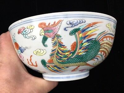 Chinese 19 Th Century Dragon Bowl Hand Pained Enamels
