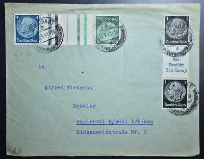 GERMANY 1941 Red Cross/Rotes Kreuz Label/Strip+ on Scarce Cover STUTTGART to ,DR