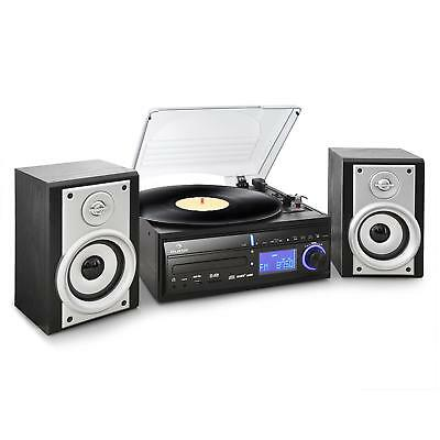 Auna Turntable Record Vinyl Player Radio Hi-Fi Stereo Speaker Cd Mp3 System Usb