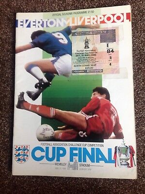 1986 FA Cup Final Programme & Ticket : Everton V Liverpool