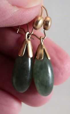 Vintage 14K Gold & Jade Drop Earrings Polished Translucent Ocean Green - Estate