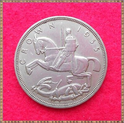 1935 GEORGE V SILVER CROWN FIVE SHILLINGS (5/-) COIN. Silver Jubilee. good grade
