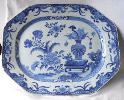 C18Th Chinese Blue And White Serving Dish With A Vase Of Flowers On A Stool