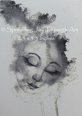 ACEO Giclee Limited Edition *PRINT* Floating Surreal Female Face Black White
