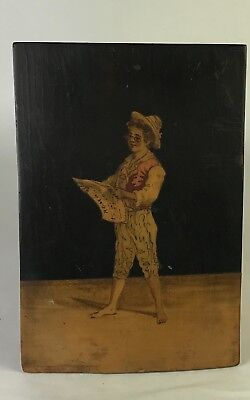 Antique Marquetry Panel/ Wall Hanging Folk Art Rome Figure Reading a Newspaper