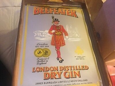 """VINTAGE BEEFEATER LONDON DISTILLED DRY GIN MIRRORED WOOD HANDLE TRAY 11-1/2""""x16"""""""