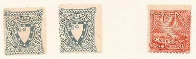 3x ST JOHN'S COLLEGE OXFORD UNIVERSITY STAMPS MM c1920