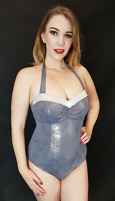 Silver Sparkle Metallic Wetlook Halterneck Swimsuit Shiny Lycra Spandex S 10 34""