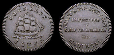 1828 Lower Canada Copper Token Francis Mullins & Son Montreal LC-17A BR563 EF-40