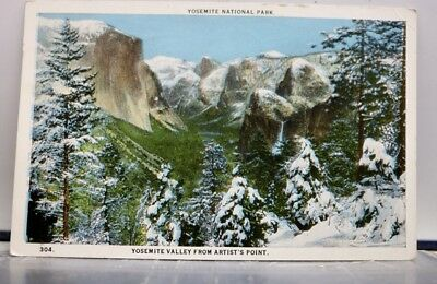 California CA Yosemite National Park Valley Artist Point Postcard Old Vintage PC