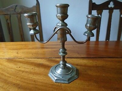 A VINTAGE SILVER PLATED 3 ARM CANDELABRA .Shabby chic Christmas table.