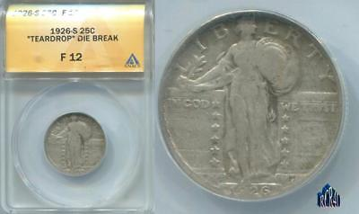 "1926-S ""teardrop"" Die Break F-12 Anacs Standing Liberty Quarter Rarity!  Compare"