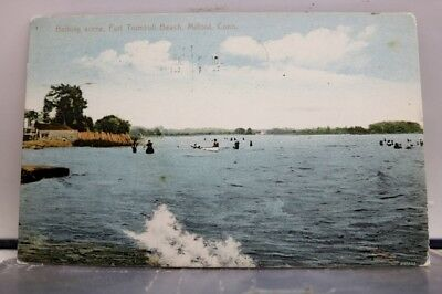Connecticut CT Milford Fort Trumbull Beach Bathing Postcard Old Vintage Card PC