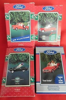 Lot of 4 Enesco Treasury FORD Christmas Ornaments T-Bird '56 Ford F100 Mustang