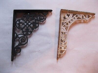 Antique Cast Iron Shelf Brackets White and Black Lot of 2