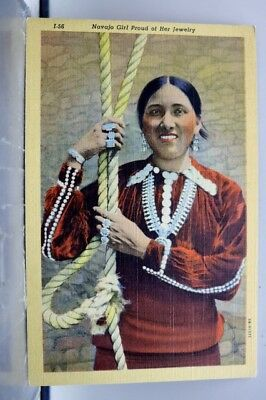 Indian Native American Navajo Girl Jewelry Postcard Old Vintage Card View Post