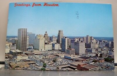 Texas TX Houston Downtown Business Aerial Postcard Old Vintage Card View Post PC