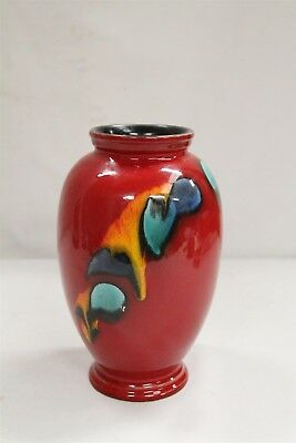 Mid Century Modern Poole Delphis Oxblood Flambe Dripping Colors Pottery Vase