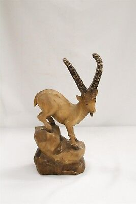 Vintage Germany Black Forest Horned Goat on Perch Hand Carved Wooden Figurine