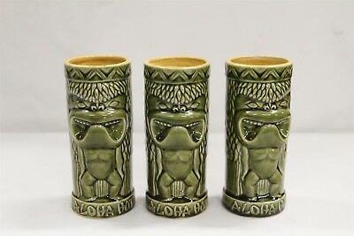 3 Vintage Retro Aloha Hut Washington Pottery Green Tiki Mugs Eames Era