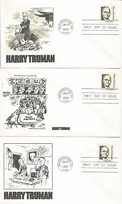 3  1862 Harry S Truman Fdc's - Different Cachets - Lot #2