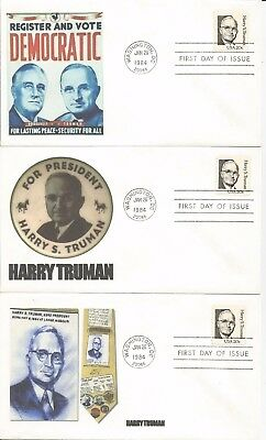 3  1862 Harry S Truman Fdc's - Different Cachets - Lot #3