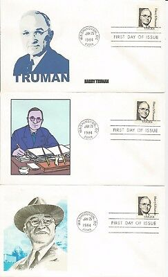3  1862 Harry S Truman Fdc's - Different Cachets - Lot #4