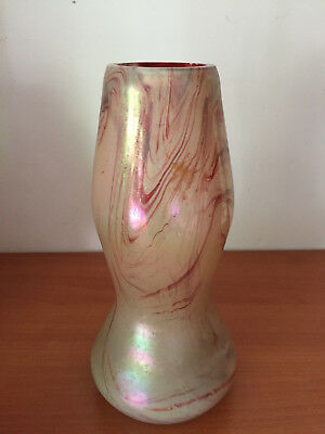 Antique Rindskopf Loetz Bohemian Czech Art Glass Iridescent Swirled Vase 6""