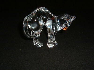 "Excellent Baccarat France Crystal ""Pouncer"" Cat Figurine Nice Mint"