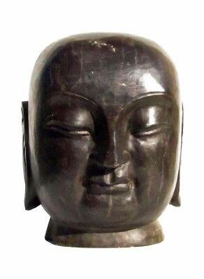 Solid Stone Chinese Hand Carved Serene Meditate Buddha Head Statue f683S