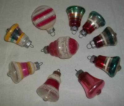 Vintage Lot Of 10 Small Shiny Brite Bell & Shaped Mica Christmas Tree Ornaments