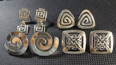 4 Pair Solid Sterling Silver Pierced Earrings Celtic - Modernist ++