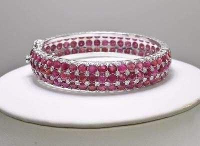 33.75ctw Natural  Red Ruby Gemstone Sterling Silver Hinged Bangle Bracelet 35g