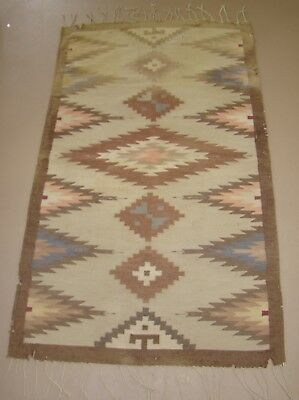 Mexican or New Mexico antique rug 19th c. Rio Grande?, 3' x 6' ft natural dyes