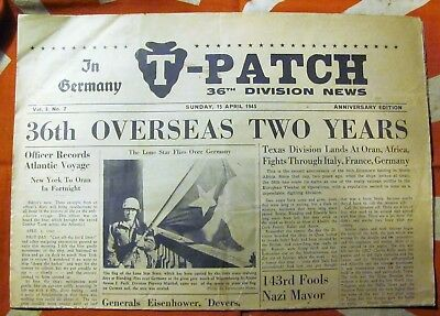 WW2 US ARMY 36th DIVISION T PATCH DIVISION NEWS PAPER APRIL 1945