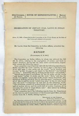 1906 INDIAN TERRITORY Segregation of Coal Lands – Choctaw & Chickasaw Tribes