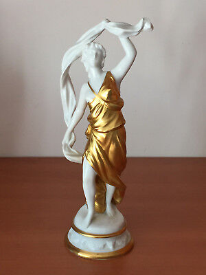 Antique Capodimonte Gold Gilt Enamel Porcelain WOMAN DANCER Figurine Crown Mark