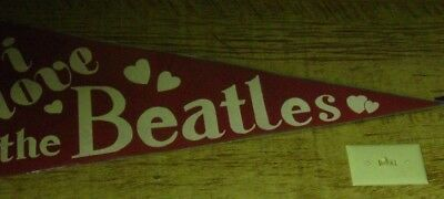 Beatles Original Felt Pennant In Red With White Lettering And Yellow Band At Top