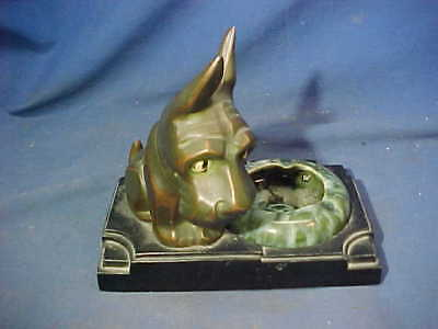 1930s ART DECO era NU ART CREATIONS Bronze SCOTTY DOG Figural ASHTRAY