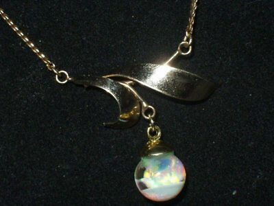 Vintage  Gold Filled  Beautiful Floating Australian Opals Necklace Pendant