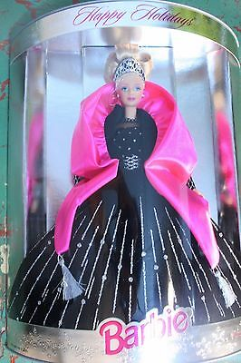 Happy Holidays 1998 Barbie Doll Special EDITION NIB Lovely Black Pink gown blond