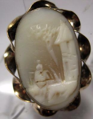 tiny Victorian carved Rebecca Cameo brooch pin gold filled
