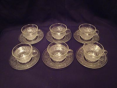 6 Anchor Hocking Depression Glass Clear Sandwich Crystal Cup & Saucer Sets