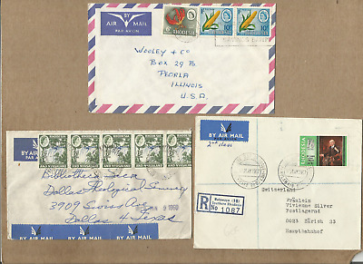 Rhodesia-White Regime Ph,ext Fine Lot Of 3 Covers To Us & Switzerland,reg,canc