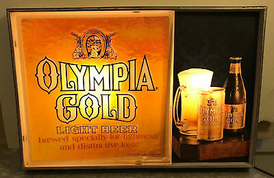 OLYMPIA BEER SIGN VINTAGE ELECTRIC 'GOLD' LIGHTED WORKING GOOD-CONDITION 1970s