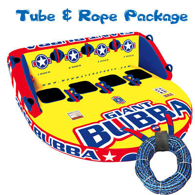 WOW Giant Bubba Towable Ski Tube Inflatable Biscuit Boat Ride + 3 Person Tow Rop