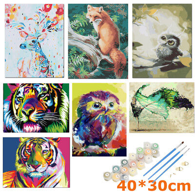 40*30cm Animal Blossom Framed Number Kit Painting By Canvas DIY Craft Home Decor