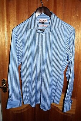 Thomas Pink ~ Mens Two Tone Blue Stripe Slim Fit Double Cuff Shirt ~ 15.5''